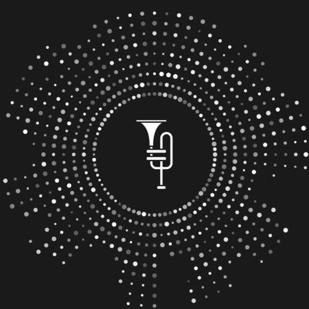 White Musical instrument trumpet icon isolated on grey background. Abstract circle random dots. Vector Illustration