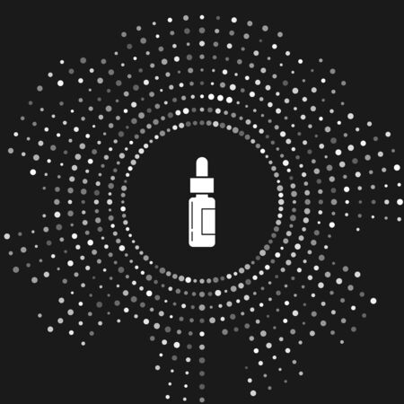 White Glass bottle with a pipette. Vial with a pipette inside icon isolated on grey background. Container for medical and cosmetic product. Abstract circle random dots. Vector Illustration