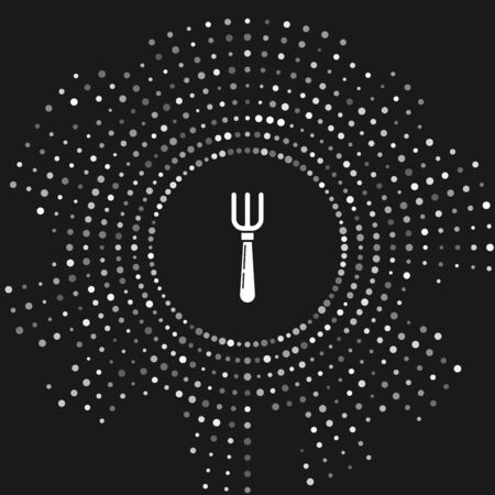 White Fork icon isolated on grey background. Cutlery symbol. Abstract circle random dots. Vector Illustration