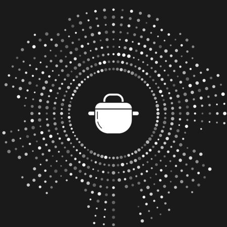White Cooking pot icon isolated on grey background. Boil or stew food symbol. Abstract circle random dots. Vector Illustration