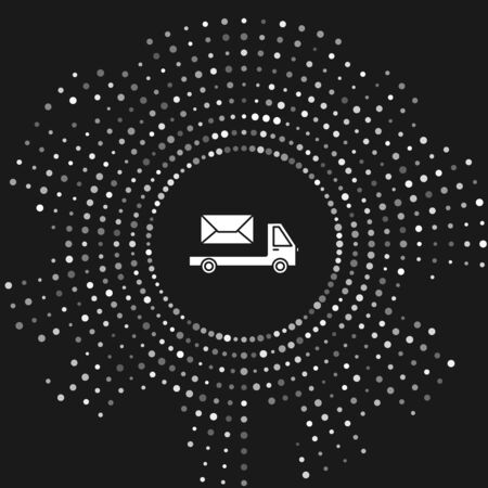 White Post truck icon isolated on grey background. Mail car. Vehicle truck transport with envelope or letter. Abstract circle random dots. Vector Illustration Illustration