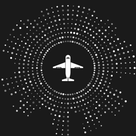 White Plane icon isolated on grey background. Delivery, transportation. Cargo delivery by air. Airplane with parcels, boxes. Abstract circle random dots. Vector Illustration Stock Illustratie