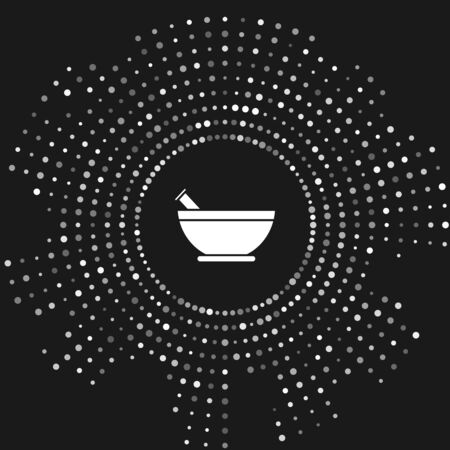 White Mortar and pestle icon isolated on grey background. Abstract circle random dots. Vector Illustration 写真素材 - 131237823