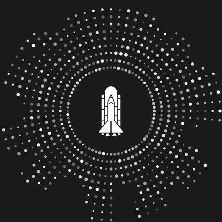White Space shuttle and rockets icon isolated on grey background. Abstract circle random dots. Vector Illustration