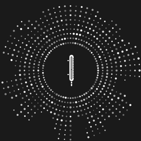 White Meteorology thermometer measuring icon isolated on grey background. Thermometer equipment showing hot or cold weather. Abstract circle random dots. Vector Illustration