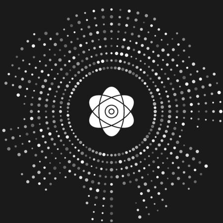 White Atom icon isolated on grey background. Symbol of science, education, nuclear physics, scientific research. Electrons and protons sign. Abstract circle random dots. Vector Illustration
