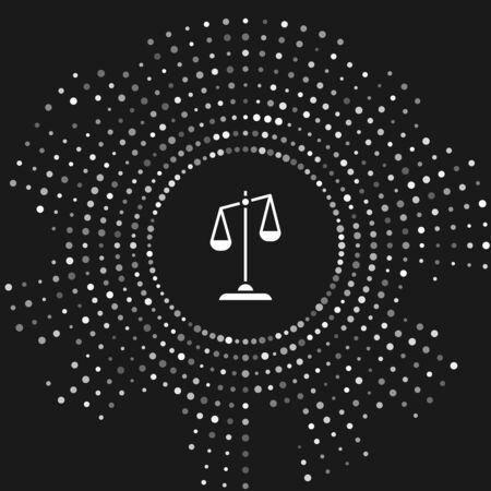 White Scales of justice icon isolated on grey background. Court of law symbol. Balance scale sign. Abstract circle random dots. Vector Illustration Ilustracja