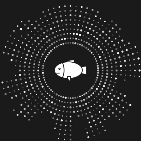 White Fish icon isolated on grey background. Abstract circle random dots. Vector Illustration