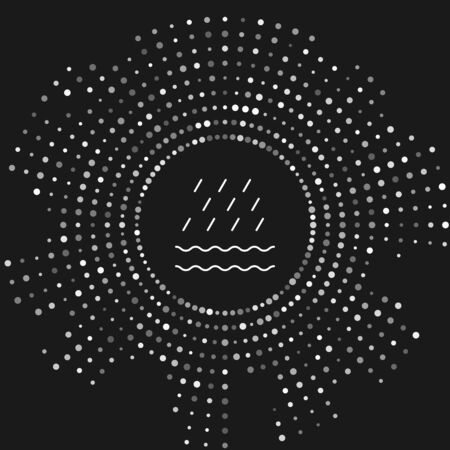 White Rain and waves icon isolated on grey background. Rain cloud precipitation with rain drops. Abstract circle random dots. Vector Illustration Illustration