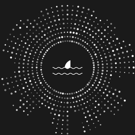 White Shark fin in ocean wave icon isolated on grey background. Abstract circle random dots. Vector Illustration