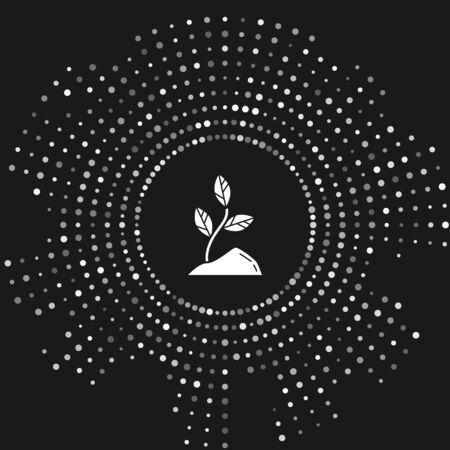 White Sprout icon isolated on grey background. Seed and seedling. Leaves sign. Leaf nature. Abstract circle random dots. Vector Illustration
