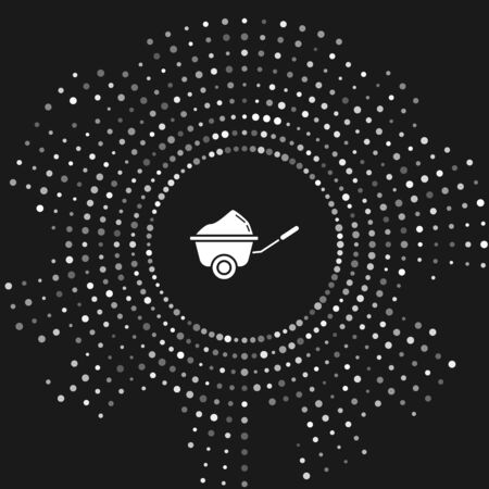 White Wheelbarrow with dirt icon isolated on grey background. Tool equipment. Agriculture cart wheel farm. Abstract circle random dots. Vector Illustration Illusztráció