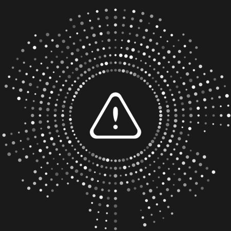 White Exclamation mark in triangle icon isolated on grey background. Hazard warning sign, careful, attention, danger warning important sign. Abstract circle random dots. Vector Illustration Çizim