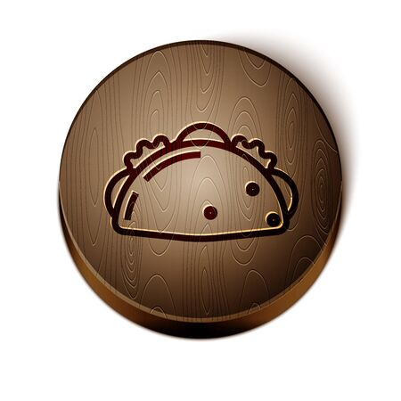 Brown line Taco with tortilla icon isolated on white background. Traditional mexican fast food menu. Wooden circle button. Vector Illustration