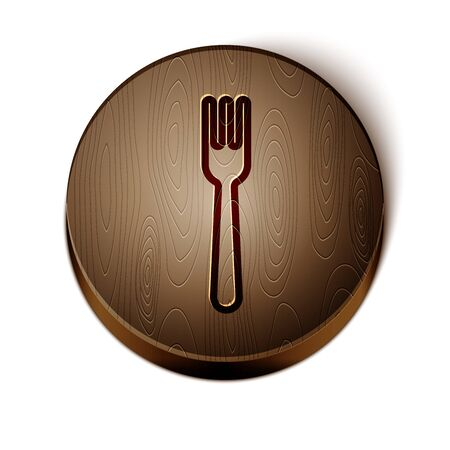 Brown line Fork icon isolated on white background. Cutlery symbol. Wooden circle button. Vector Illustration