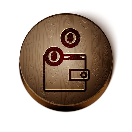 Brown line Wallet with coins icon isolated on white background. Purse icon. Cash savings symbol. Wooden circle button. Vector Illustration 일러스트