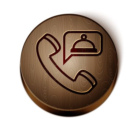 Brown line Food ordering icon isolated on white background. Order by mobile phone. Restaurant food delivery concept. Wooden circle button.