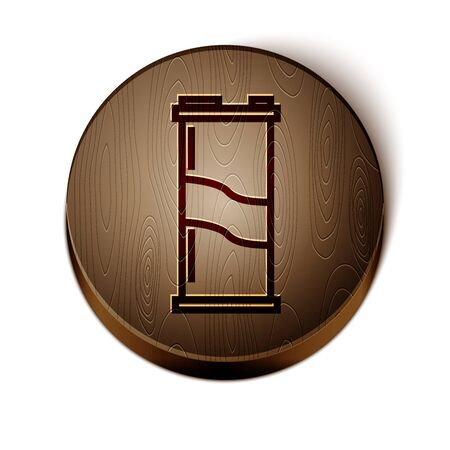 Brown line Soda can icon isolated on white background. Wooden circle button. Vector Illustration Ilustração