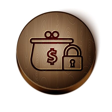 Brown line Closed wallet with lock icon isolated on white background. Locked wallet. Security, safety, protection concept. Concept of a safe payment. Wooden circle button. Vector Illustration