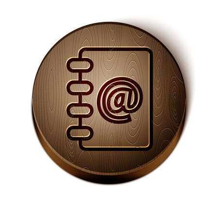 Brown line Address book icon isolated on white background. Notebook, address, contact, directory, phone, telephone book icon. Wooden circle button. Illustration