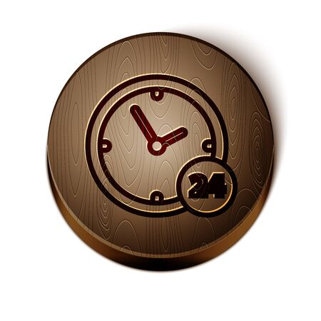Brown line Clock 24 hours icon isolated on white background. All day cyclic icon. 24 hours service symbol. Wooden circle button.