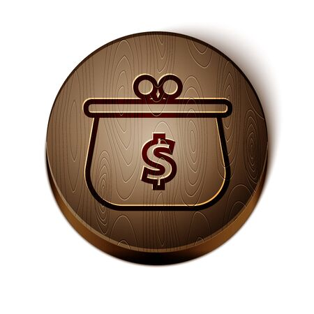 Brown line Wallet with with dollar symbol icon isolated on white background. Purse icon. Cash savings symbol. Wooden circle button. Vector Illustration