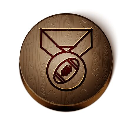 Brown line American Football ball with medal icon isolated on white background. Wooden circle button. Vector Illustration  イラスト・ベクター素材