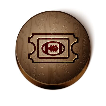 Brown line American Football ticket icon isolated on white background. Wooden circle button. Vector Illustration