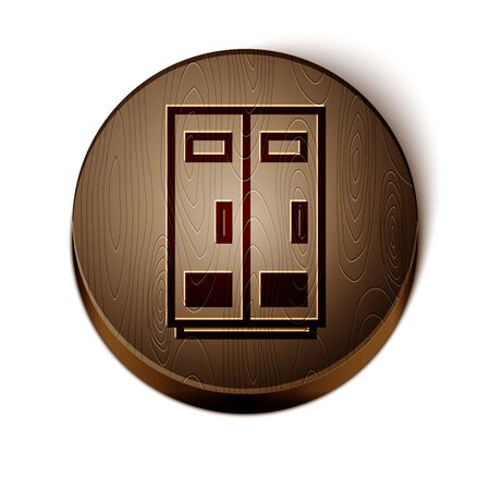 Brown line Locker or changing room for football, basketball team or workers icon isolated on white background. Wooden circle button. Vector Illustration
