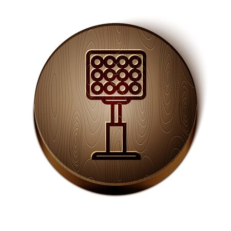 Brown line Bright stadium lights icon isolated on white background. Spotlight on a football field. Floodlight, light projector. Wooden circle button. Vector Illustration