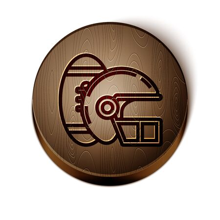 Brown line American Football ball and helmet icon isolated on white background. Set of sport equipment. Wooden circle button. Vector Illustration