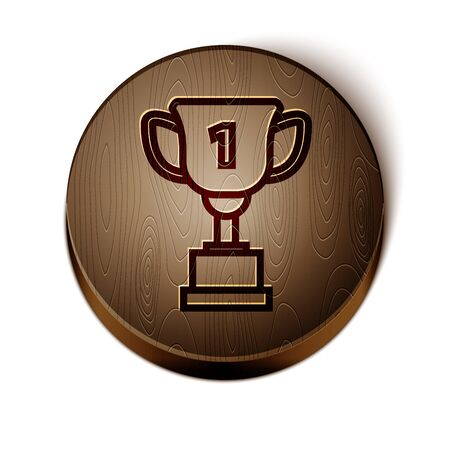 Brown line Award cup icon isolated on white background. Winner trophy symbol. Championship or competition trophy. Sports achievement sign. Wooden circle button.