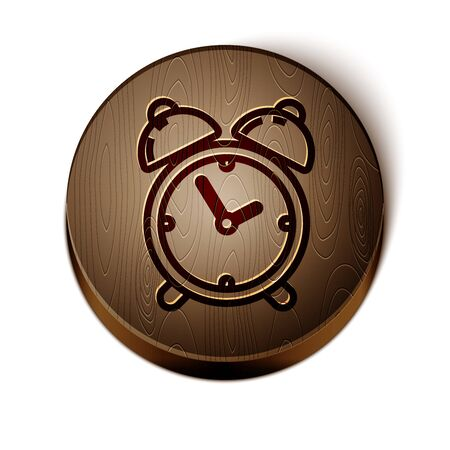 Brown line Alarm clock icon isolated on white background. Wake up, get up concept. Time sign. Wooden circle button. Vector Illustration Illustration