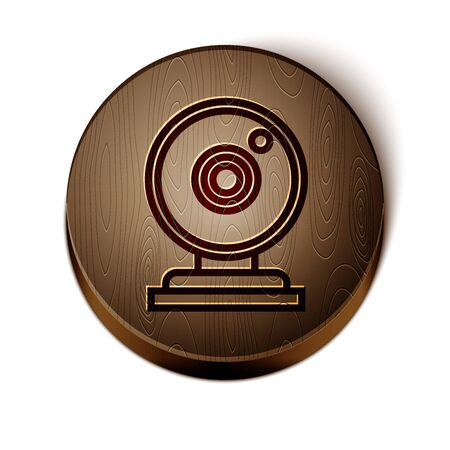 Brown line Web camera icon isolated on white background. Chat camera. Webcam icon. Wooden circle button. Vector Illustration Иллюстрация