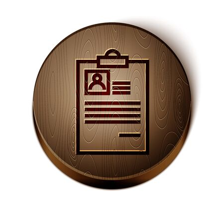 Brown line Clipboard with resume icon isolated on white background. CV application. Curriculum vitae, job application form with profile photo. Wooden circle button. Vector Illustration Ilustração