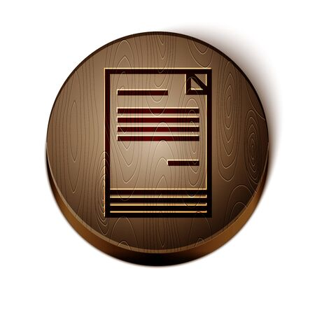 Brown line Document icon isolated on white background. File icon. Checklist icon. Business concept. Wooden circle button. Stock Illustratie