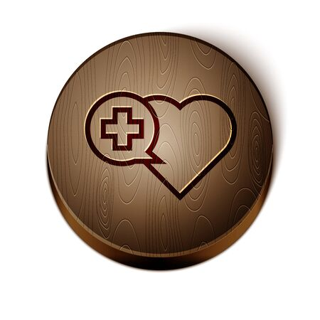 Brown line Heart with a cross icon isolated on white background. First aid. Healthcare, medical and pharmacy sign. Wooden circle button. Иллюстрация