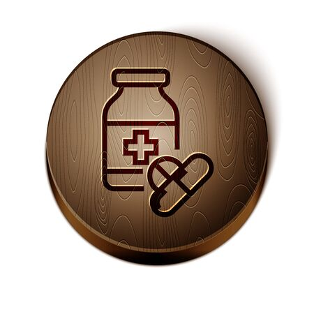 Brown line Medicine bottle and pills icon isolated on white background. Bottle pill sign. Pharmacy design. Wooden circle button. Çizim