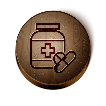 Brown line Medicine bottle and pills icon isolated on white background. Bottle pill sign. Pharmacy design. Wooden circle button. Vector Illustration