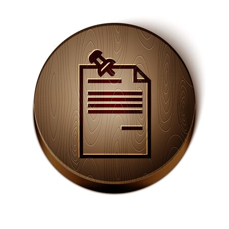 Brown line Note paper with pinned pushbutton icon isolated on white background. Memo paper sign. Wooden circle button. Vector Illustration