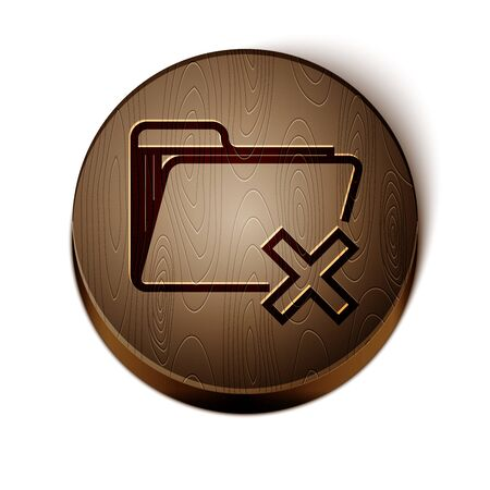 Brown line Delete folder icon isolated on white background. Folder with recycle bin. Delete or error folder. Close computer information folder. Wooden circle button. Vector Illustration