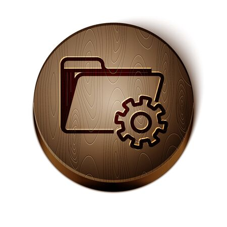Brown line Folder settings with gears icon isolated on white background. Software update, transfer protocol, teamwork tool management. Wooden circle button.