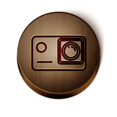 Brown line Action extreme camera icon isolated on white background. Video camera equipment for filming extreme sports. Wooden circle button.