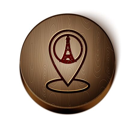 Brown line Map pointer with Eiffel tower icon isolated on white background.  Wooden circle button.