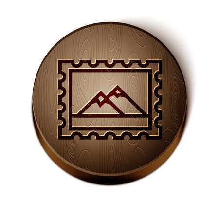 Brown line Postal stamp and Mountains icon isolated on white background. Wooden circle button