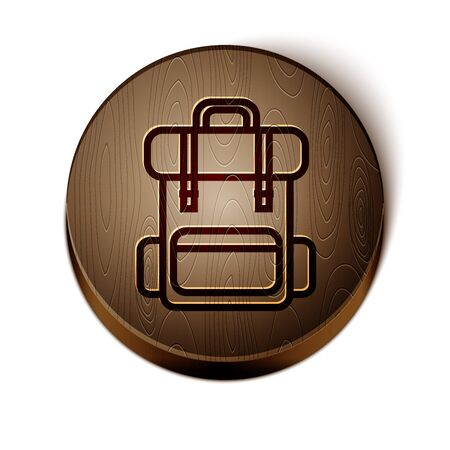 Brown line Hiking backpack icon isolated on white background. Camping and mountain exploring backpack. Wooden circle button. Vector Illustration