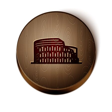 Brown line Coliseum in Rome, Italy icon isolated on white background. Colosseum sign. Symbol of Ancient Rome, gladiator fights. Wooden circle button. Illustration