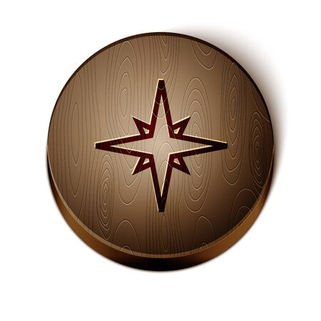 Brown line Wind rose icon isolated on white background. Compass icon for travel. Navigation design. Wooden circle button. Vector Illustration