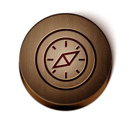 Brown line Compass icon isolated on white background. Windrose navigation symbol. Wind rose sign. Wooden circle button. Vector Illustration