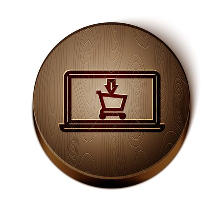 Brown line Shopping cart on screen laptop icon isolated on white background. Concept e-commerce, e-business, online business marketing. Wooden circle button. Vector Illustration Stock Vector - 131244571